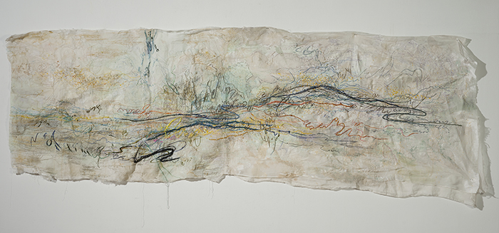 Breeze Scenery, silk and cotton thread, embroidery on silk, 110x330cm, 2016