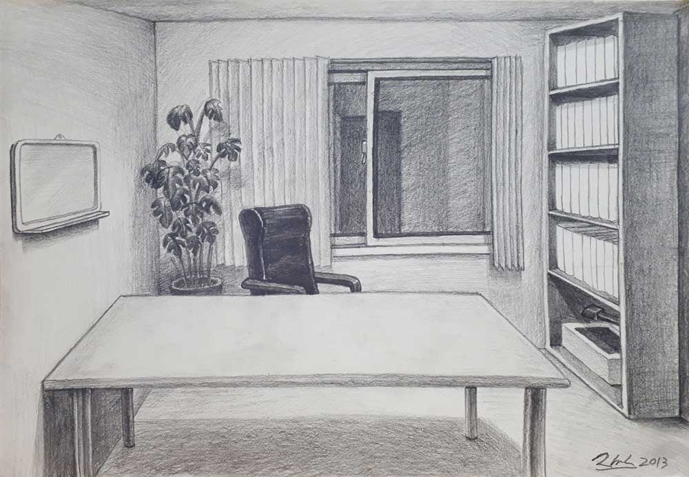 97화실-원장실/ 2013/ Pencil on paper/ 27×39cm