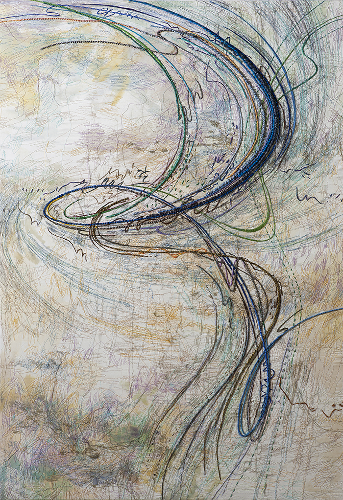 Blue swirl, silk and cotton thread, embroidery on silk, 104x151cm, 2016